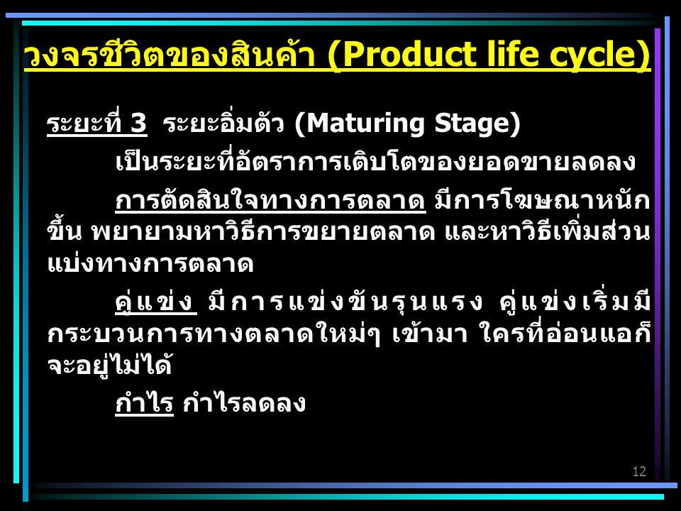12 ระยะที่ 3 ระยะอิ่มตัว (Maturing Stage) เป็นระยะที่อัตราการเติบโตของยอดขายลดลง การตัดสินใจทางการตลาด มีการโฆษณาหนัก ขึ้น พยายามหาวิธีการขยายตลาด และ
