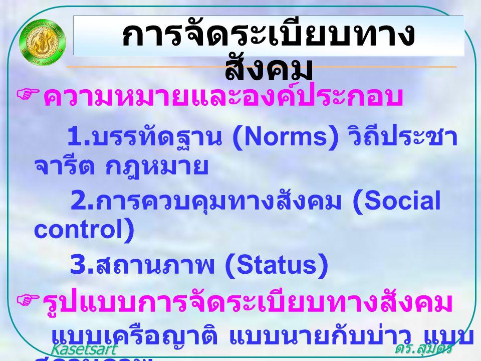 ดร. สุมิตร สุวรรณ.. Kasetsart University  ความหมายและองค์ประกอบ 1. บรรทัดฐาน (Norms) วิถีประชา จารีต กฎหมาย 2. การควบคุมทางสังคม (Social control) 3.