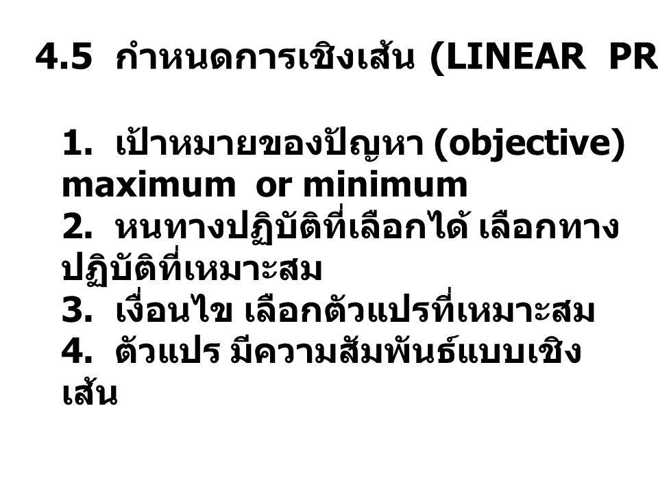 4.5 กำหนดการเชิงเส้น (LINEAR PROGRAM) 1. เป้าหมายของปัญหา (objective) maximum or minimum 2. หนทางปฏิบัติที่เลือกได้ เลือกทาง ปฏิบัติที่เหมาะสม 3. เงื่