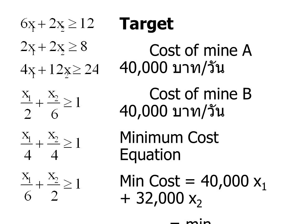 Target Cost of mine A 40,000 บาท / วัน Cost of mine B 40,000 บาท / วัน Minimum Cost Equation Min Cost = 40,000 x 1 + 32,000 x 2 = min