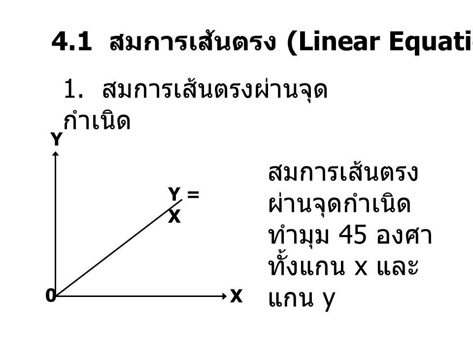 4.1 สมการเส้นตรง (Linear Equation) 1. สมการเส้นตรงผ่านจุด กำเนิด สมการเส้นตรง ผ่านจุดกำเนิด ทำมุม 45 องศา ทั้งแกน x และ แกน y Y = X Y X 0