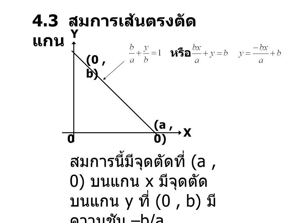 สมการนี้มีความชัน Y X 0 (0, b) (-a, 0)
