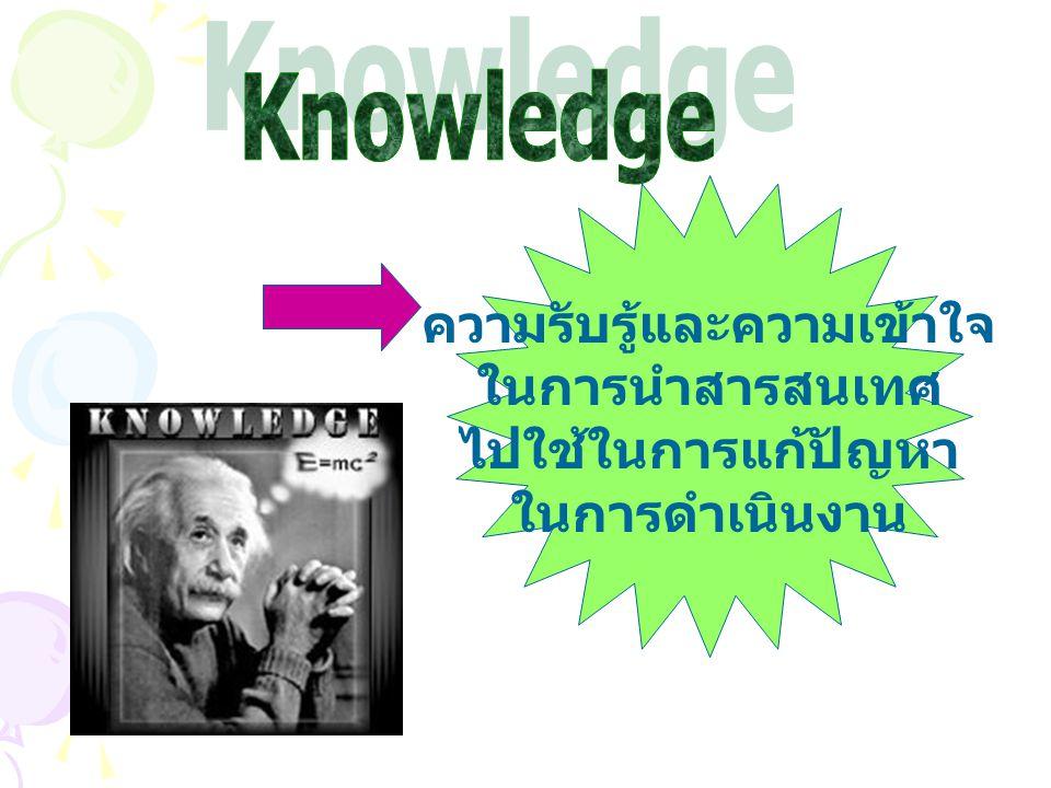 ความรับรู้และความเข้าใจ ในการนำสารสนเทศ ไปใช้ในการแก้ปัญหา ในการดำเนินงาน
