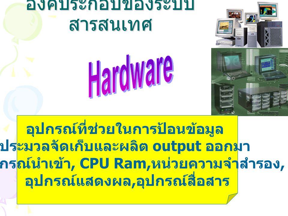 องค์ประกอบของระบบ สารสนเทศ อุปกรณ์ที่ช่วยในการป้อนข้อมูล ประมวลจัดเก็บและผลิต output ออกมา - อุปกรณ์นำเข้า, CPU Ram, หน่วยความจำสำรอง, อุปกรณ์แสดงผล,