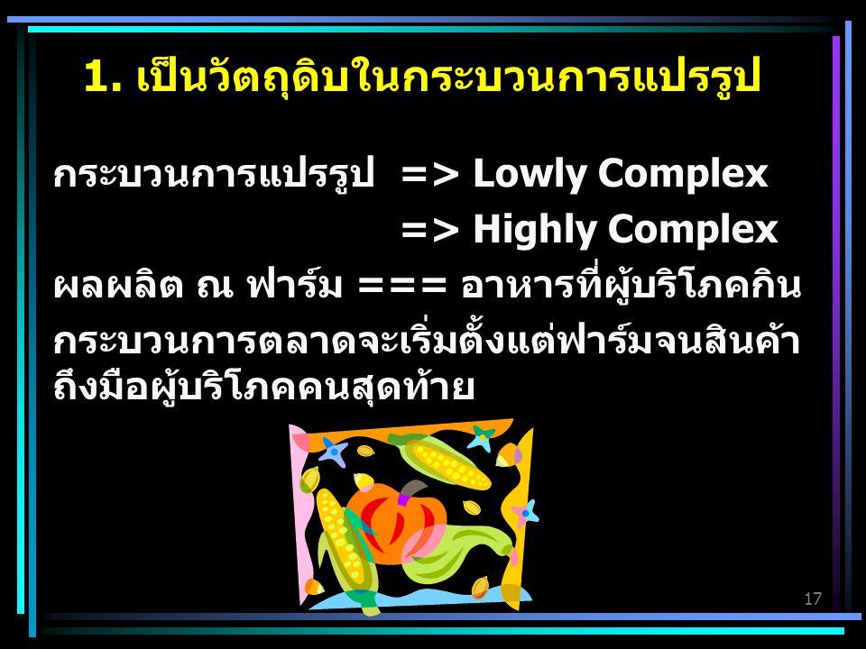 17 1. เป็นวัตถุดิบในกระบวนการแปรรูป กระบวนการแปรรูป => Lowly Complex => Highly Complex ผลผลิต ณ ฟาร์ม === อาหารที่ผู้บริโภคกิน กระบวนการตลาดจะเริ่มตั้