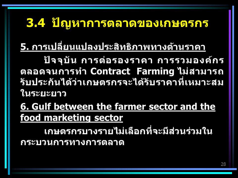 28 5. การเปลี่ยนแปลงประสิทธิภาพทางด้านราคา ปัจจุบัน การต่อรองราคา การรวมองค์กร ตลอดจนการทำ Contract Farming ไม่สามารถ รับประกันได้ว่าเกษตรกรจะได้รับรา