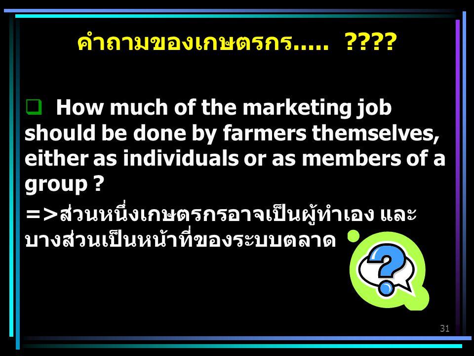 31 คำถามของเกษตรกร..... ????  How much of the marketing job should be done by farmers themselves, either as individuals or as members of a group ? =>