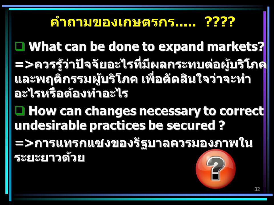 32 คำถามของเกษตรกร..... ????  What can be done to expand markets? =>ควรรู้ว่าปัจจัยอะไรที่มีผลกระทบต่อผู้บริโภค และพฤติกรรมผู้บริโภค เพื่อตัดสินใจว่า