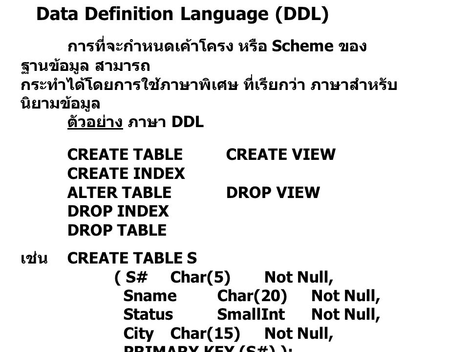 Data Definition Language (DDL) การที่จะกำหนดเค้าโครง หรือ Scheme ของ ฐานข้อมูล สามารถ กระทำได้โดยการใช้ภาษาพิเศษ ที่เรียกว่า ภาษาสำหรับ นิยามข้อมูล ตั