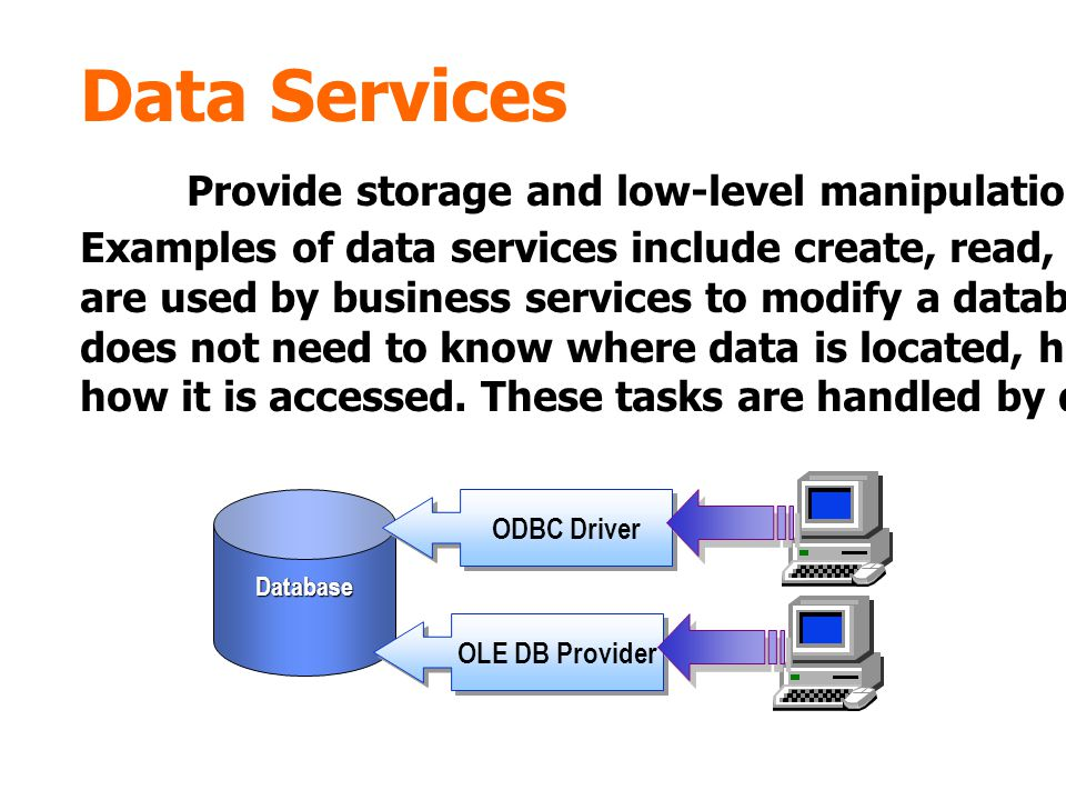 Data Services Provide storage and low-level manipulation of data in a database.