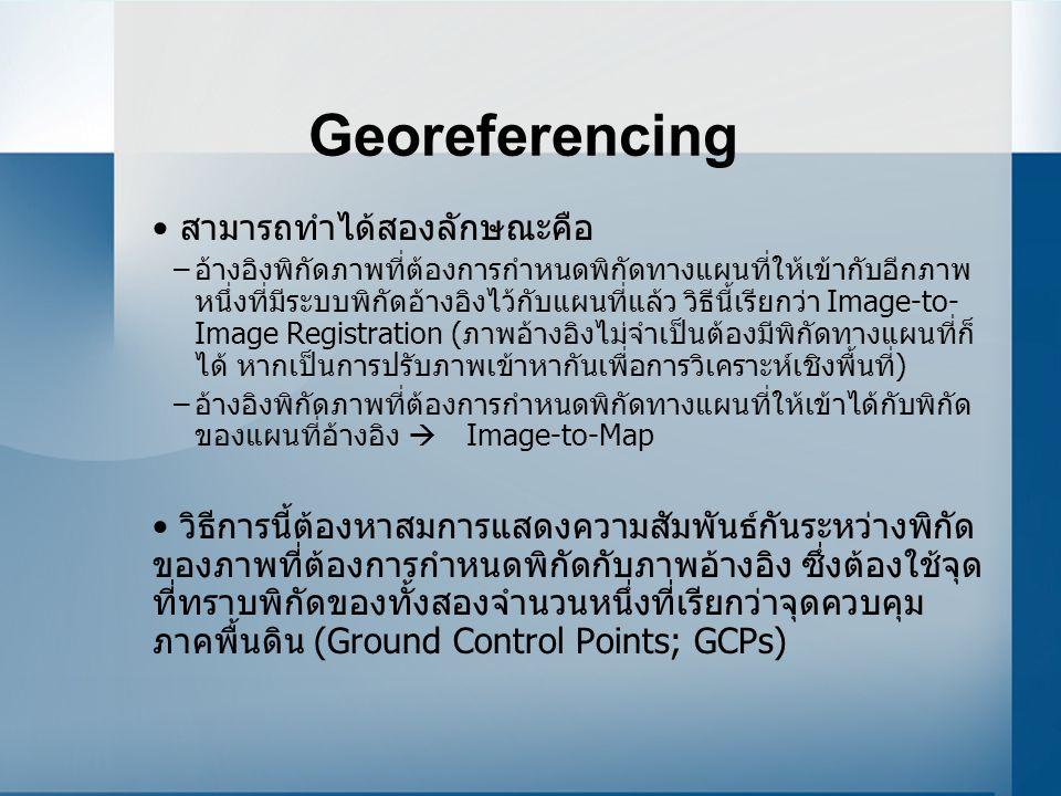 Georeferencing สามารถทำได้สองลักษณะคือ –อ้างอิงพิกัดภาพที่ต้องการกำหนดพิกัดทางแผนที่ให้เข้ากับอีกภาพ หนึ่งที่มีระบบพิกัดอ้างอิงไว้กับแผนที่แล้ว วิธีนี้เรียกว่า Image-to- Image Registration (ภาพอ้างอิงไม่จำเป็นต้องมีพิกัดทางแผนที่ก็ ได้ หากเป็นการปรับภาพเข้าหากันเพื่อการวิเคราะห์เชิงพื้นที่) –อ้างอิงพิกัดภาพที่ต้องการกำหนดพิกัดทางแผนที่ให้เข้าได้กับพิกัด ของแผนที่อ้างอิง  Image-to-Map วิธีการนี้ต้องหาสมการแสดงความสัมพันธ์กันระหว่างพิกัด ของภาพที่ต้องการกำหนดพิกัดกับภาพอ้างอิง ซึ่งต้องใช้จุด ที่ทราบพิกัดของทั้งสองจำนวนหนึ่งที่เรียกว่าจุดควบคุม ภาคพื้นดิน (Ground Control Points; GCPs)