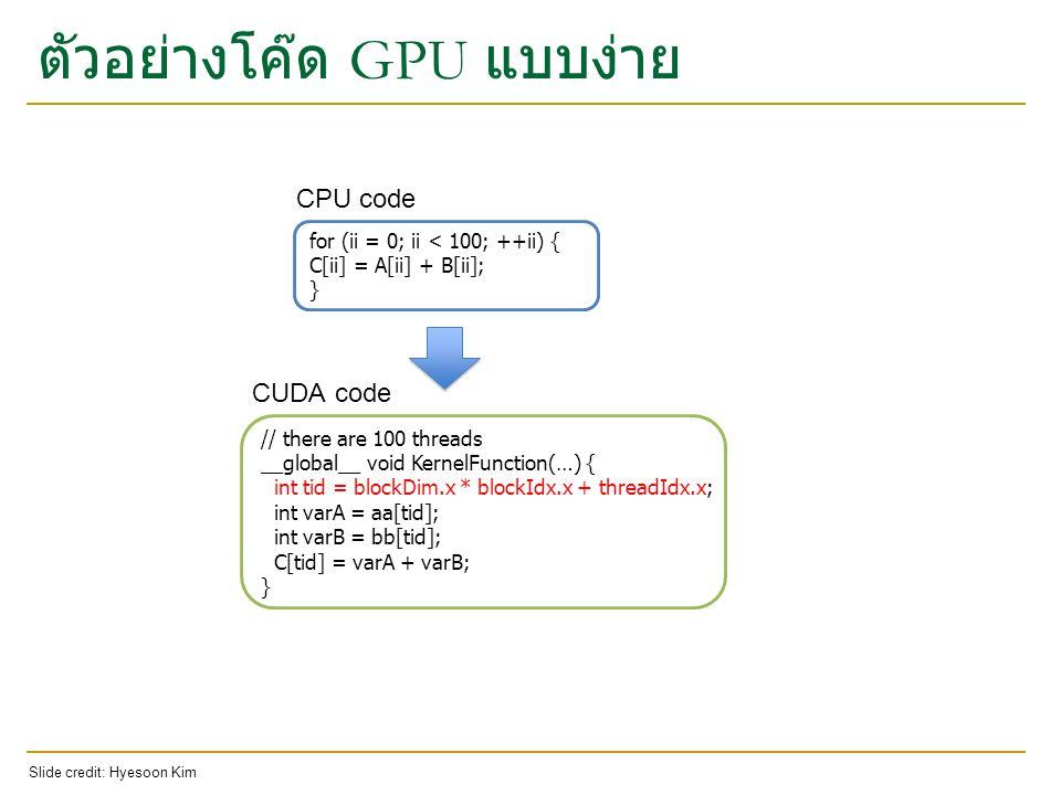ตัวอย่างโค๊ด GPU แบบง่าย for (ii = 0; ii < 100; ++ii) { C[ii] = A[ii] + B[ii]; } // there are 100 threads __global__ void KernelFunction(…) { int tid