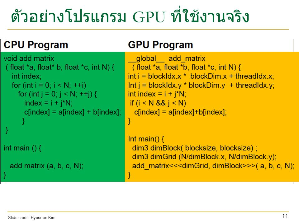 ตัวอย่างโปรแกรม GPU ที่ใช้งานจริง 11 Slide credit: Hyesoon Kim
