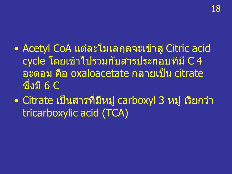 Acetyl CoA แต่ละโมเลกุลจะเข้าสู่ Citric acid cycle โดยเข้าไปรวมกับสารประกอบที่มี C 4 อะตอม คือ oxaloacetate กลายเป็น citrate ซึ่งมี 6 C Citrate เป็นสา