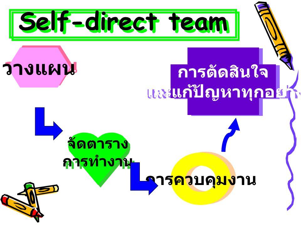 Self-direct team วางแผน จัดตาราง การทำงาน จัดตาราง การทำงาน การควบคุมงาน การตัดสินใจ และแก้ปัญหาทุกอย่าง การตัดสินใจ และแก้ปัญหาทุกอย่าง