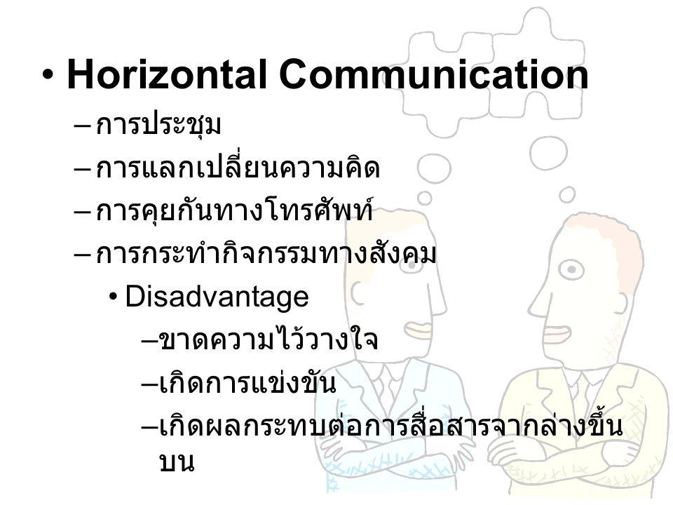Horizontal Communication – การประชุม – การแลกเปลี่ยนความคิด – การคุยกันทางโทรศัพท์ – การกระทำกิจกรรมทางสังคม Disadvantage – ขาดความไว้วางใจ – เกิดการแ
