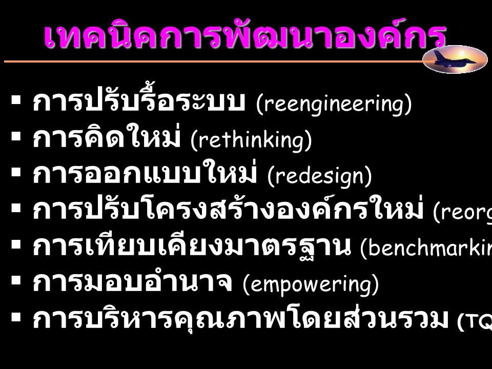 เทคนิคการพัฒนาองค์กร   การปรับรื้อระบบ (reengineering)   การคิดใหม่ (rethinking)   การออกแบบใหม่ (redesign)   การปรับโครงสร้างองค์กรใหม่ (reor