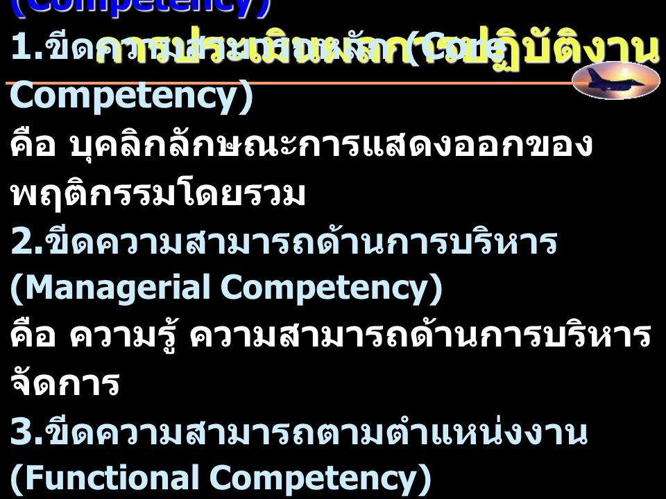 การประเมินผลการปฏิบัติงาน สมรรถนะ / ขีดความสามารถ (Competency) 1. ขีดความสามารถหลัก (Core Competency) คือ บุคลิกลักษณะการแสดงออกของ พฤติกรรมโดยรวม 2.