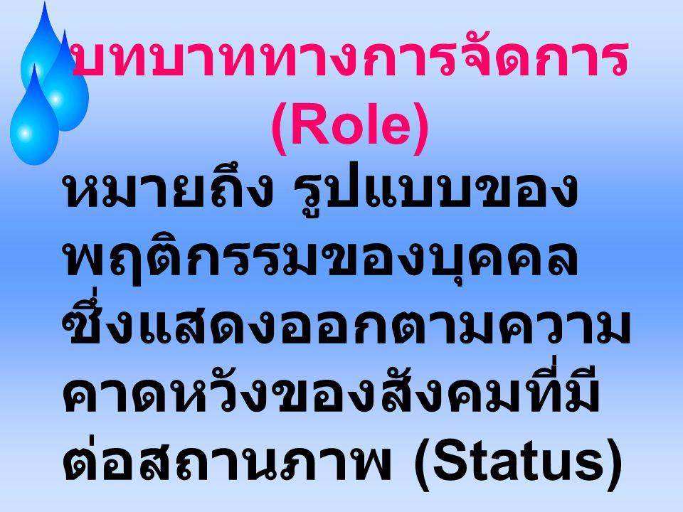 บทบาททางการจัดการ (Role) หมายถึง รูปแบบของ พฤติกรรมของบุคคล ซึ่งแสดงออกตามความ คาดหวังของสังคมที่มี ต่อสถานภาพ (Status)