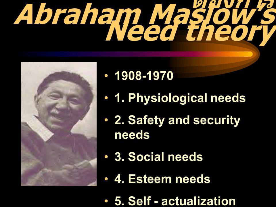 ทฤษฎีลำดับขั้นความ ต้องการ Abraham Maslow's Need theory 1908-1970 1. Physiological needs 2. Safety and security needs 3. Social needs 4. Esteem needs