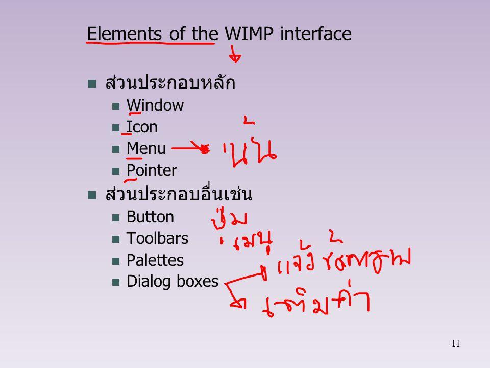 11 Elements of the WIMP interface ส่วนประกอบหลัก Window Icon Menu Pointer ส่วนประกอบอื่นเช่น Button Toolbars Palettes Dialog boxes