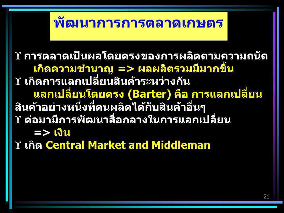 21 พัฒนาการการตลาดเกษตร  การตลาดเป็นผลโดยตรงของการผลิตตามความถนัด เกิดความชำนาญ => ผลผลิตรวมมีมากขึ้น  เกิดการแลกเปลี่ยนสินค้าระหว่างกัน แลกเปลี่ยนโ