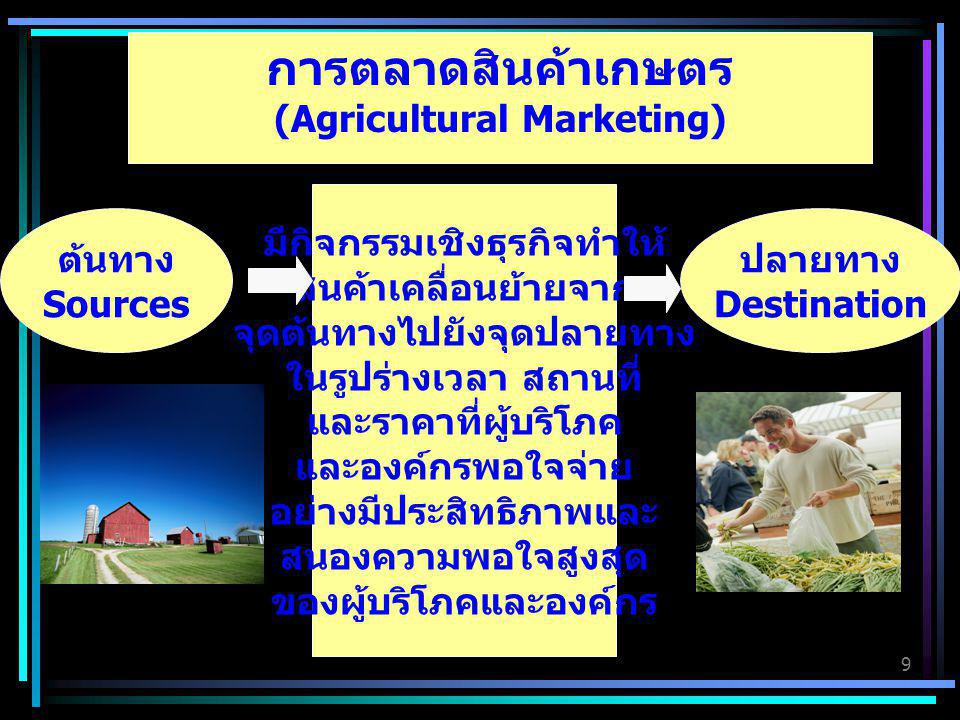 9 การตลาดสินค้าเกษตร (Agricultural Marketing) ต้นทาง Sources ปลายทาง Destination มีกิจกรรมเชิงธุรกิจทำให้ สินค้าเคลื่อนย้ายจาก จุดต้นทางไปยังจุดปลายทา