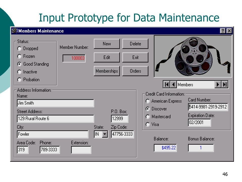 46 Input Prototype for Data Maintenance