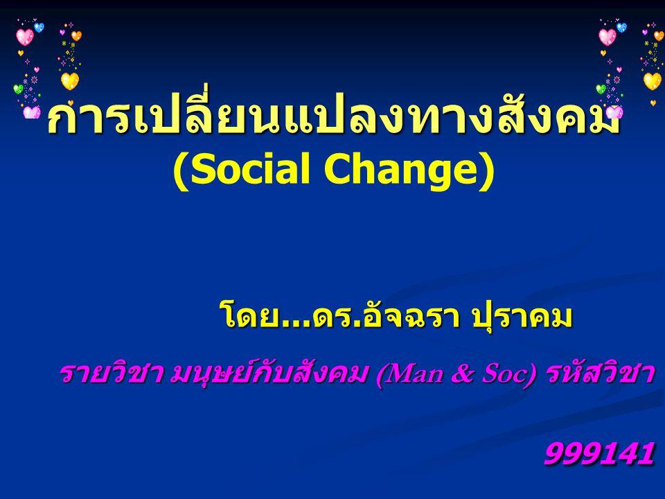การเปลี่ยนแปลงทางสังคม การเปลี่ยนแปลงทางสังคม (Social Change) โดย... ดร. อัจฉรา ปุราคม โดย... ดร. อัจฉรา ปุราคม รายวิชา มนุษย์กับสังคม (Man & Soc) รหั