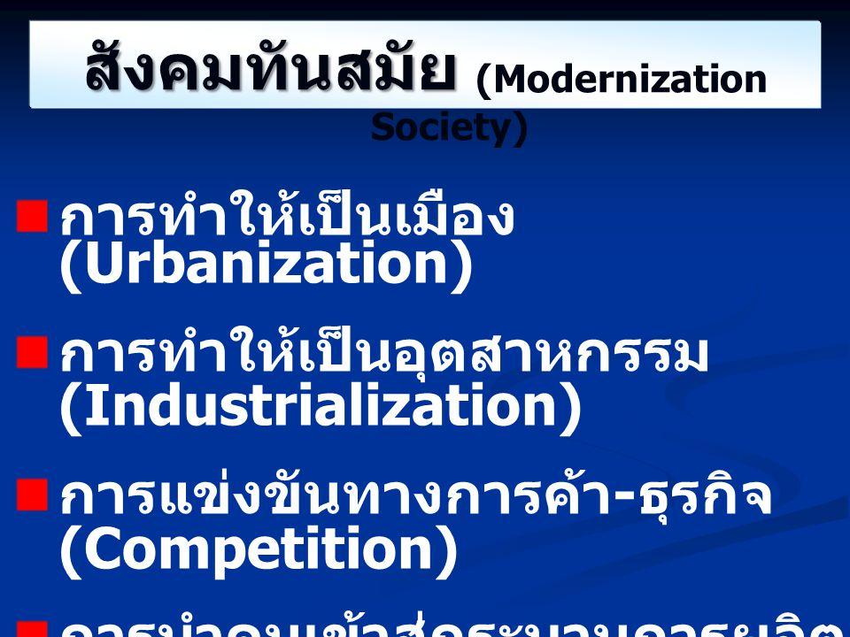 สังคมทันสมัย สังคมทันสมัย (Modernization Society) การทำให้เป็นเมือง (Urbanization) การทำให้เป็นอุตสาหกรรม (Industrialization) การแข่งขันทางการค้า - ธุ