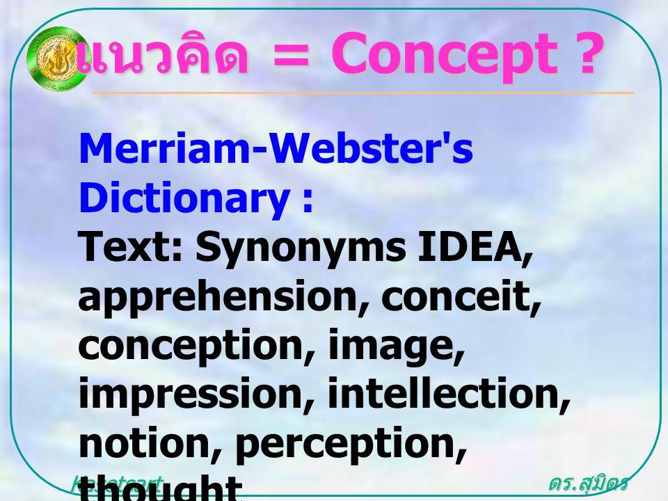 ดร. สุมิตร สุวรรณ.. Kasetsart University แนวคิด = Concept ? Merriam-Webster's Dictionary : Text: Synonyms IDEA, apprehension, conceit, conception, ima