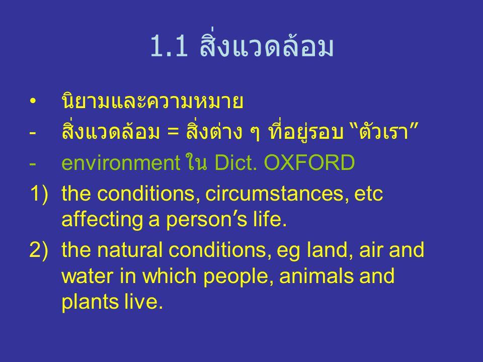 1.1 สิ่งแวดล้อม นิยามและความหมาย - สิ่งแวดล้อม = สิ่งต่าง ๆ ที่อยู่รอบ ตัวเรา -environment ใน Dict.
