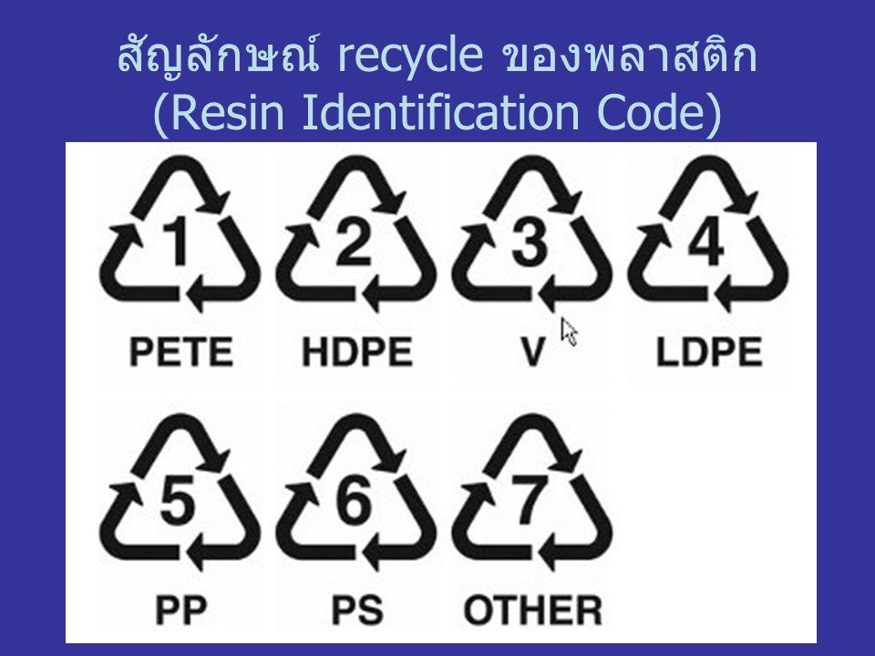 สัญลักษณ์ recycle ของพลาสติก (Resin Identification Code)