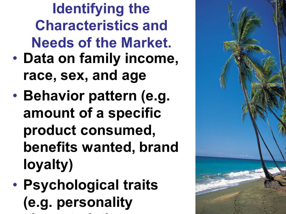 Identifying the Characteristics and Needs of the Market.