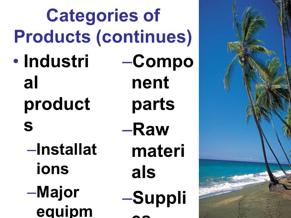Categories of Products (continues) Industri al product s –Installat ions –Major equipm ent –Access ory equipm ent –Compo nent parts –Raw materi als –Suppli es –Industr ial service s