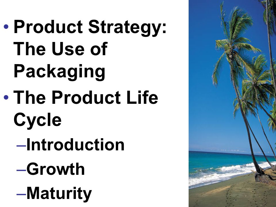 Product Strategy: The Use of Packaging The Product Life Cycle –Introduction –Growth –Maturity –Decline