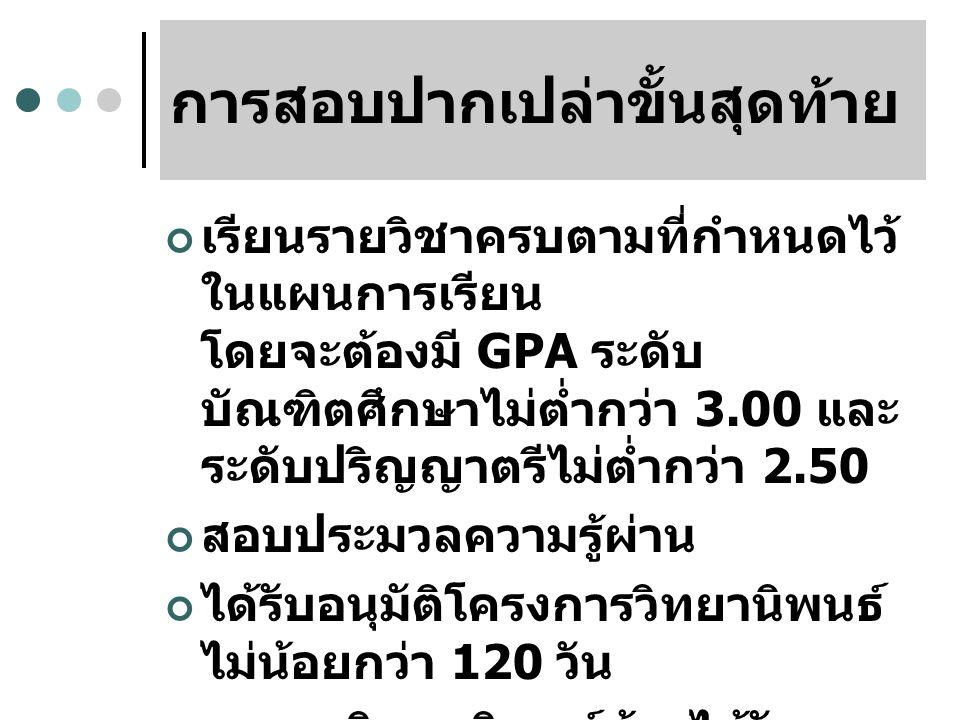 การสอบปากเปล่าขั้นสุดท้าย เรียนรายวิชาครบตามที่กำหนดไว้ ในแผนการเรียน โดยจะต้องมี GPA ระดับ บัณฑิตศึกษาไม่ต่ำกว่า 3.00 และ ระดับปริญญาตรีไม่ต่ำกว่า 2.