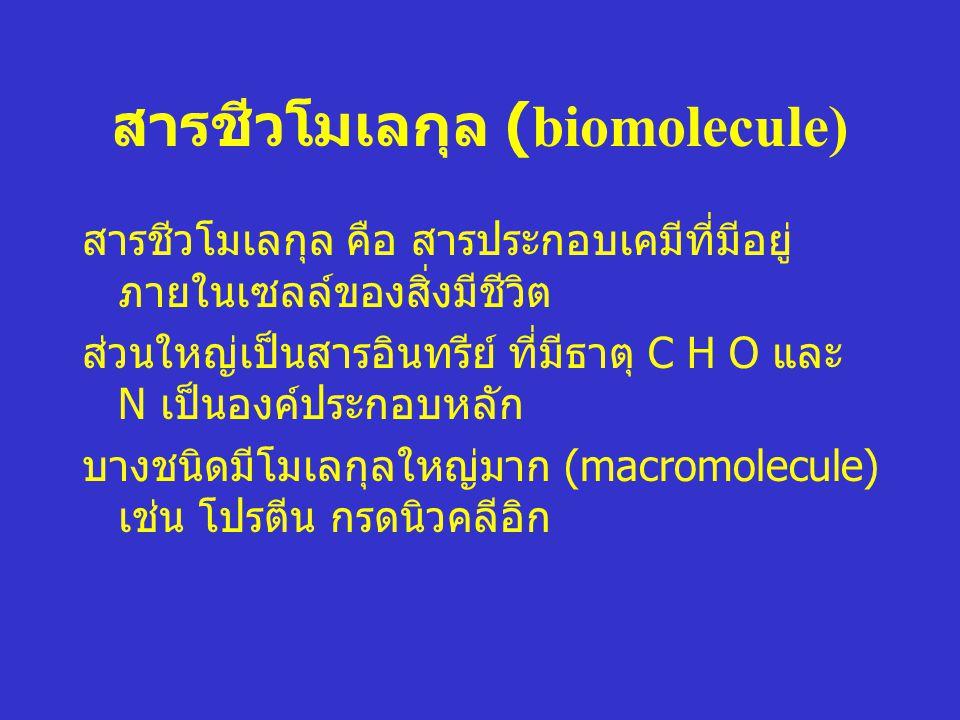 สารชีวโมเลกุล (biomolecule) สารชีวโมเลกุล คือ สารประกอบเคมีที่มีอยู่ ภายในเซลล์ของสิ่งมีชีวิต ส่วนใหญ่เป็นสารอินทรีย์ ที่มีธาตุ C H O และ N เป็นองค์ปร
