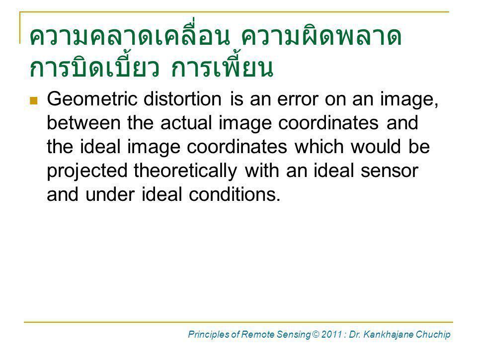 ความคลาดเคลื่อน ความผิดพลาด การบิดเบี้ยว การเพี้ยน Geometric distortion is an error on an image, between the actual image coordinates and the ideal im