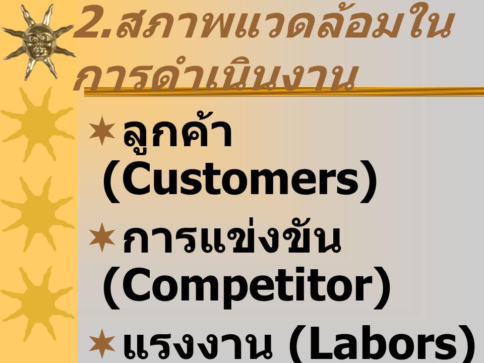 2. สภาพแวดล้อมใน การดำเนินงาน  ลูกค้า (Customers)  การแข่งขัน (Competitor)  แรงงาน (Labors)  ผู้ขายวัตถุดิบ (Supplier)