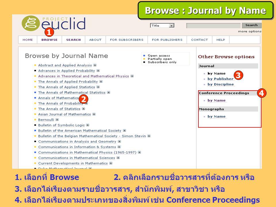2. คลิกเลือกรายชื่อวารสารที่ต้องการ หรือ 1. เลือกที่ Browse 3. เลือกไล่เรียงตามรายชื่อวารสาร, สำนักพิมพ์, สาขาวิชา หรือ 4. เลือกไล่เรียงตามประเภทของสิ