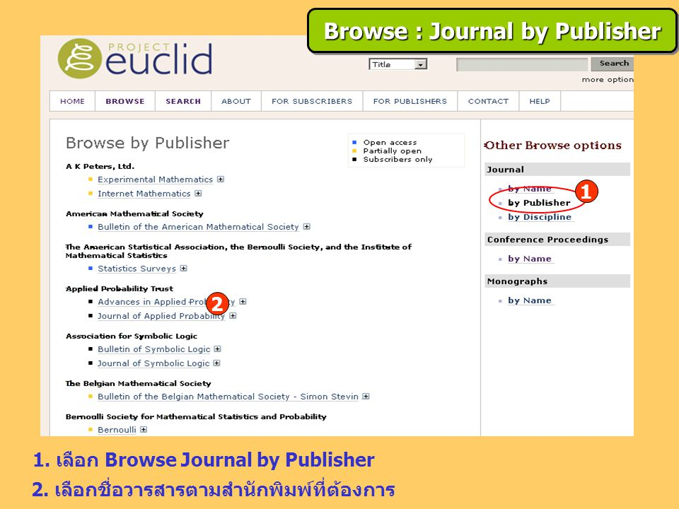 1. เลือก Browse Journal by Publisher 2.