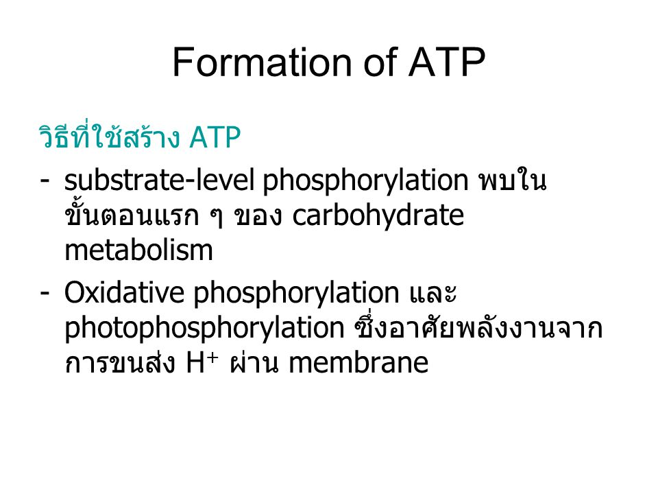 Formation of ATP วิธีที่ใช้สร้าง ATP -substrate-level phosphorylation พบใน ขั้นตอนแรก ๆ ของ carbohydrate metabolism -Oxidative phosphorylation และ pho