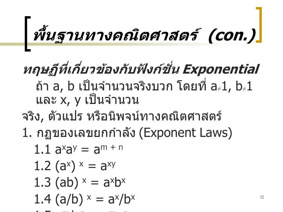 12 พื้นฐานทางคณิตศาสตร์ (con.) ทฤษฏีที่เกี่ยวข้องกับฟังก์ชั่น Exponential ถ้า a, b เป็นจำนวนจริงบวก โดยที่ a ≠ 1, b ≠ 1 และ x, y เป็นจำนวน จริง, ตัวแปร หรือนิพจน์ทางคณิตศาสตร์ 1.