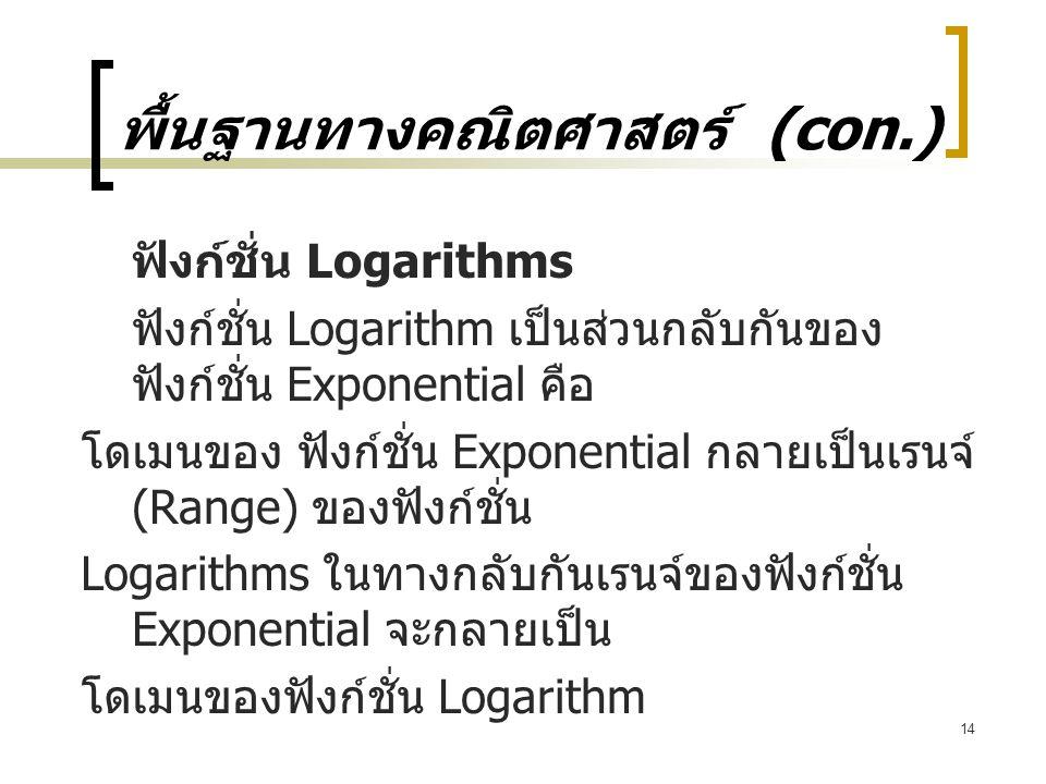 14 พื้นฐานทางคณิตศาสตร์ (con.) ฟังก์ชั่น Logarithms ฟังก์ชั่น Logarithm เป็นส่วนกลับกันของ ฟังก์ชั่น Exponential คือ โดเมนของ ฟังก์ชั่น Exponential กลายเป็นเรนจ์ (Range) ของฟังก์ชั่น Logarithms ในทางกลับกันเรนจ์ของฟังก์ชั่น Exponential จะกลายเป็น โดเมนของฟังก์ชั่น Logarithm