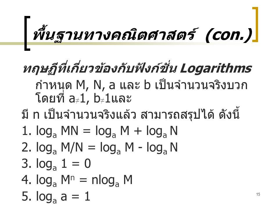 15 พื้นฐานทางคณิตศาสตร์ (con.) ทฤษฏีที่เกี่ยวข้องกับฟังก์ชั่น Logarithms กำหนด M, N, a และ b เป็นจำนวนจริงบวก โดยที่ a ≠ 1, b ≠ 1 และ มี n เป็นจำนวนจริงแล้ว สามารถสรุปได้ ดังนี้ 1.
