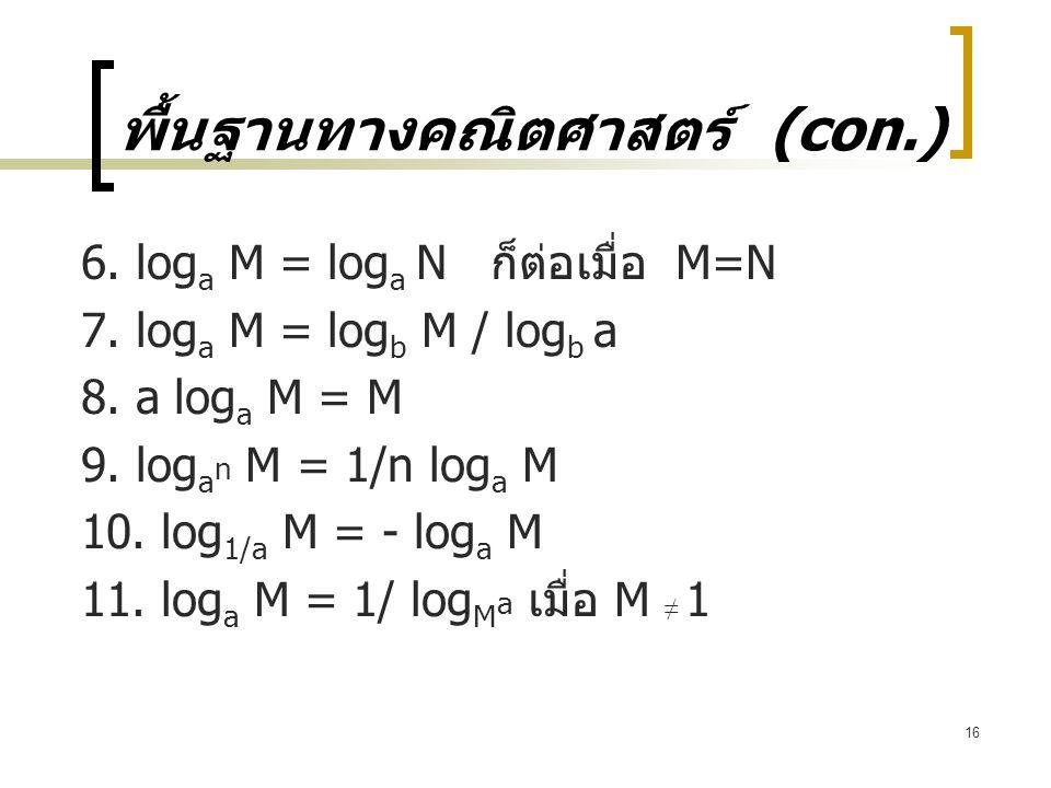 16 พื้นฐานทางคณิตศาสตร์ (con.) 6.log a M = log a N ก็ต่อเมื่อ M=N 7.