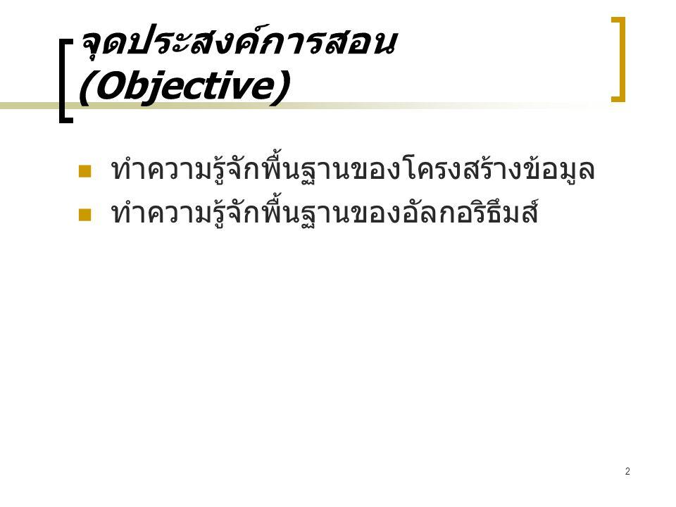 2 จุดประสงค์การสอน (Objective) ทำความรู้จักพื้นฐานของโครงสร้างข้อมูล ทำความรู้จักพื้นฐานของอัลกอริธึมส์