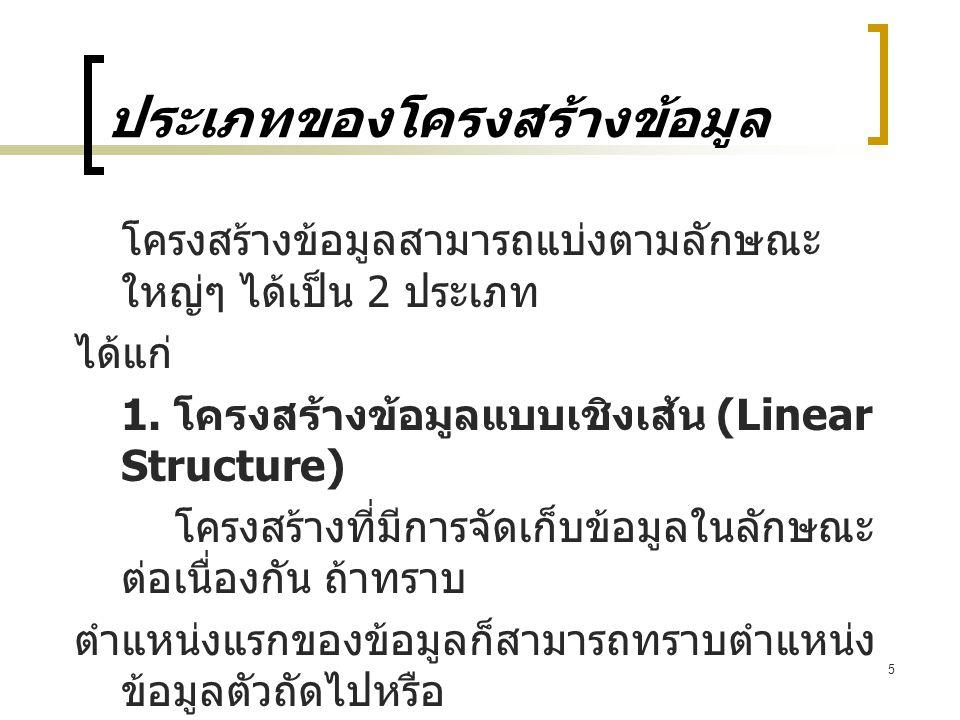 6 ประเภทของโครงสร้างข้อมูล 100200300400 D(1)D(2)D(3)D(4) อาเรย์ (Array) โครงสร้างของสแตก D(1) D(2) D(3) D(4) D(5) InOut