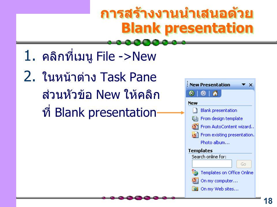 18 การสร้างงานนำเสนอด้วย Blank presentation 1. คลิกที่เมนู File ->New 2. ในหน้าต่าง Task Pane ส่วนหัวข้อ New ให้คลิก ที่ Blank presentation